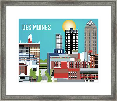 Des Moines Iowa Horizontal Skyline Framed Print
