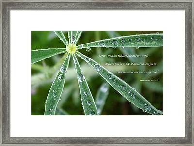 Descending Words Like Dew Framed Print