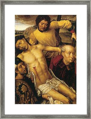 Descent From The Cross Framed Print by Hans Memling