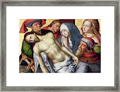 Descent From The Cross Framed Print by Hugo van der Goes