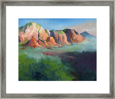 Desert Afternoon Mountains Sky And Trees Framed Print