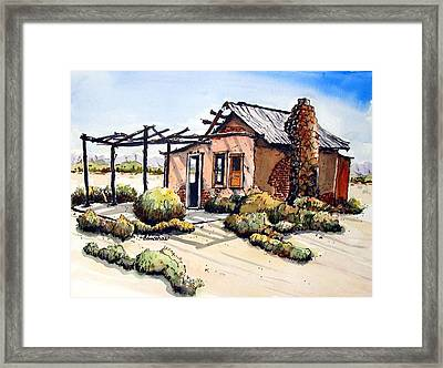 Framed Print featuring the painting Desert Cabin by Terry Banderas