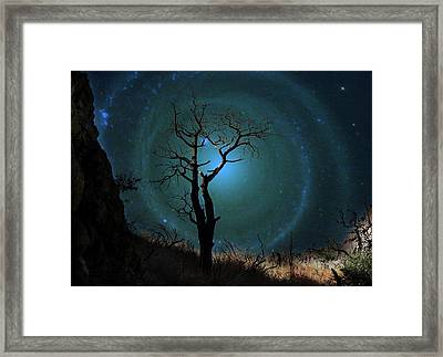 Desert Canyon Whirlpool Galaxy Framed Print by Barbara Chichester