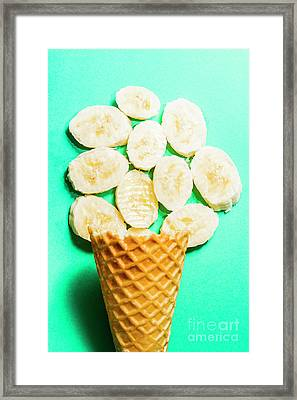 Desert Concept Of Ice-cream Cone And Banana Slices Framed Print