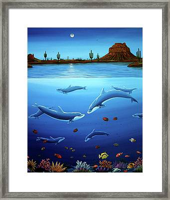 Desert Dolphins Close  Framed Print by Lance Headlee
