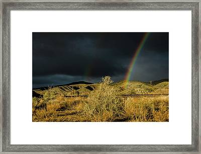 Desert Double Rainbow Framed Print