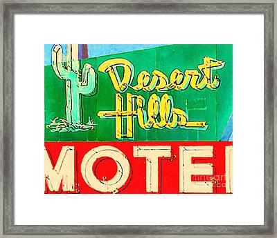 Desert Hills Motel Framed Print by Wingsdomain Art and Photography