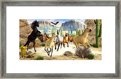 Framed Print featuring the photograph Desert Horses by Peter J Sucy