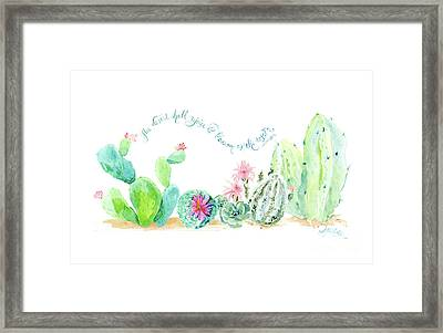 Desert In Bloom 2, Watercolor Desert Cacti N Succulents Inspirational Verse Framed Print by Audrey Jeanne Roberts