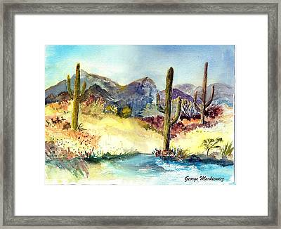 Desert In The Morning Framed Print by George Markiewicz