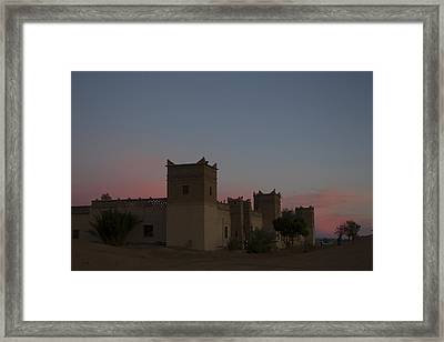 Framed Print featuring the tapestry - textile Desert Kasbah Morocco 2 by Kathy Adams Clark