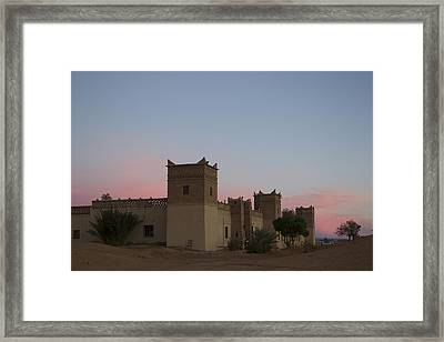 Framed Print featuring the tapestry - textile Desert Kasbah Morocco by Kathy Adams Clark
