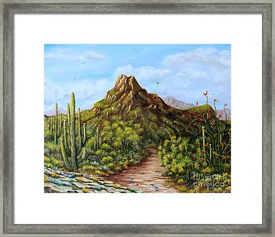 Framed Print featuring the painting Desert Landscape Gambel's Quail by Judy Filarecki