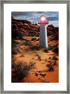 Framed Print featuring the photograph Desert Lighthouse by Harry Spitz