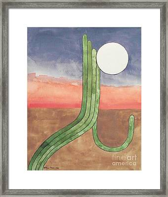 Framed Print featuring the painting Desert Moon by LeAnne Sowa