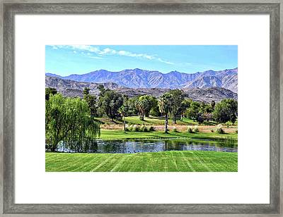 Desert Mountains And Green Foliage Framed Print