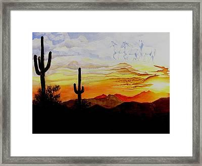 Desert Mustangs Framed Print