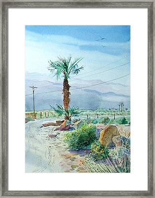 Framed Print featuring the painting Desert Palm by John Norman Stewart