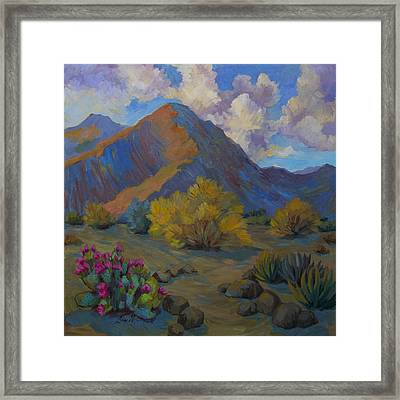 Desert Palo Verde And Beavertail Cactus Framed Print