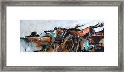 Framed Print featuring the painting Desert Racers by Cher Devereaux