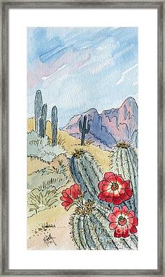 Desert Scene One Ink And Watercolor Framed Print by Marilyn Smith