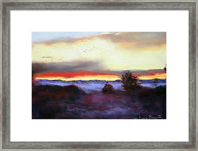Framed Print featuring the painting Desert Sunset I by M Diane Bonaparte
