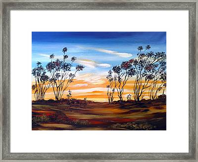 Framed Print featuring the painting Desert Sunset by Roberto Gagliardi