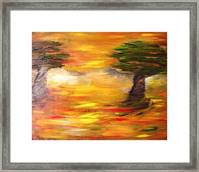 Framed Print featuring the painting Desert Trees by Evelina Popilian