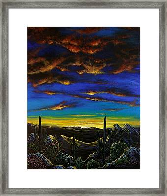 Framed Print featuring the painting Desert View by Lance Headlee