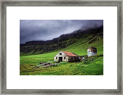 Deserted Barn In Iceland Framed Print