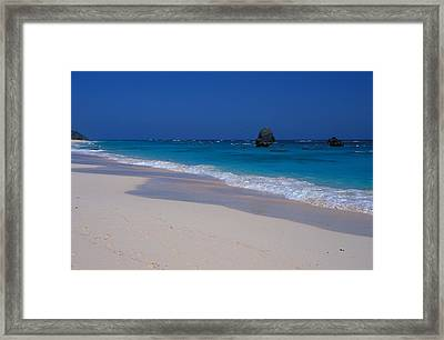 Framed Print featuring the photograph Deserted Beach In Bermuda by Carl Purcell