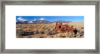 Deserted Car With Cow Skeleton, Great Framed Print by Panoramic Images