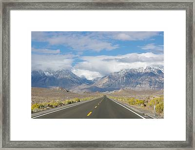 Deserted Road To Mt. Whitney Framed Print by Jeff Lowe