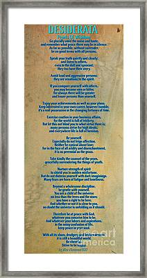 Desiderata Framed Print by Celestial Images