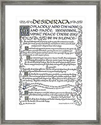 Desiderata-blue Framed Print