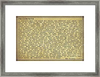 Desiderata By Max Ehrmann Framed Print