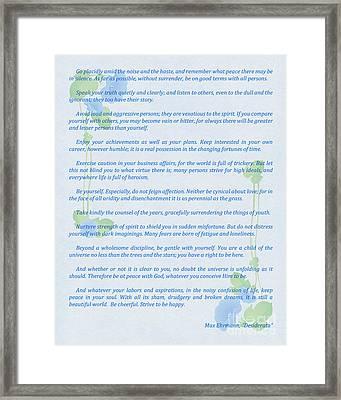 Desiderata In Blue Framed Print by Olga Hamilton