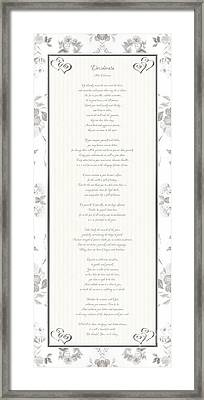 Desiderata In Silver Script By Max Ehrmann Framed Print