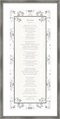 Framed Print featuring the digital art Desiderata In Silver Script By Max Ehrmann by Rose Santuci-Sofranko