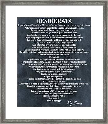 Desiderata Poem Cool Blue Framed Print by Dan Sproul