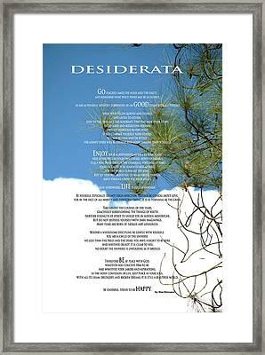 Desiderata Poem Over Sky With Clouds And Tree Branches Framed Print by Claudia Ellis
