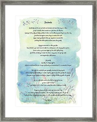 Desiderata Watercolor Floral Blue Framed Print by Terry DeLuco