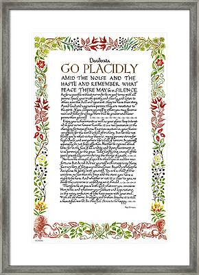 Desiderata Wildflowers Calligraphy Framed Print by Desiderata Gallery