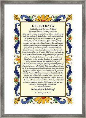 Desiderata With Deruta Italian Border Framed Print