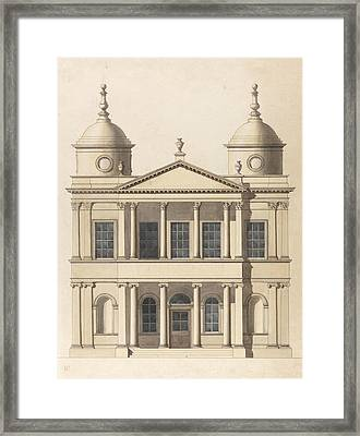 Design For A Church. Elevation Of West Front Framed Print by Paul Sandby
