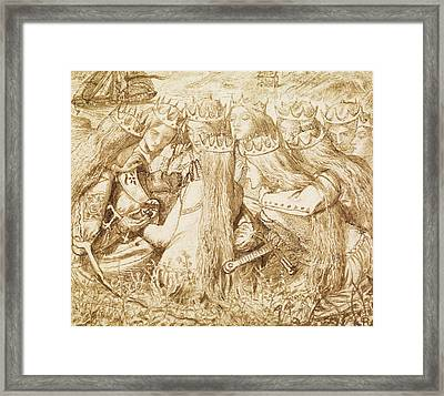 Design For Moxon's Tennyson - King Arthur And The Weeping Queens Framed Print