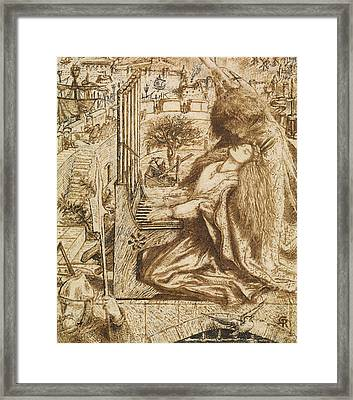 Design For Moxon's Tennyson - Saint Cecilia Framed Print by Dante Gabriel Rossetti