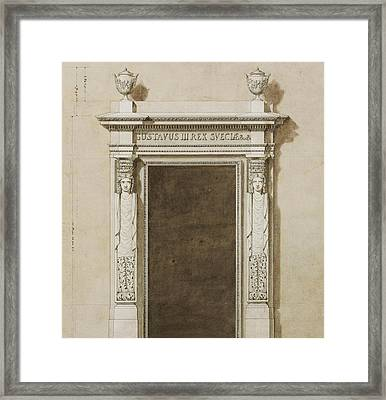 Design For Wall Decorations For The Salon De Compagnie Framed Print by Jean-Desmosthene Dugourc