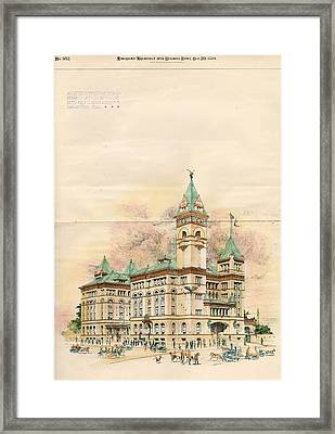 Design Of Bexar County Court House. San Antonio Tx. 1894 Framed Print by James Riely Gordon