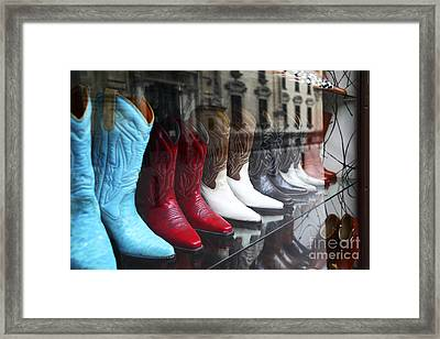 Designer Leather Boots For Sale Framed Print by James Brunker